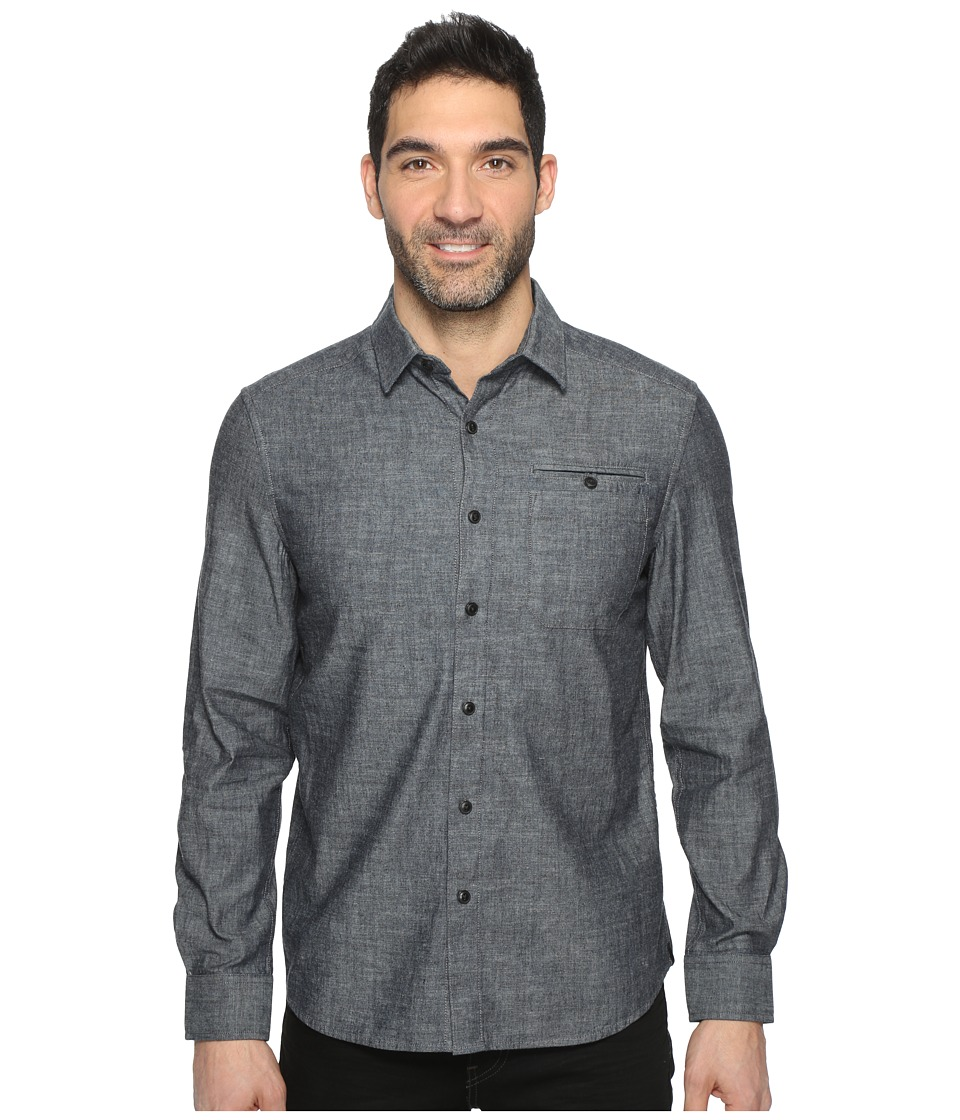 Kenneth Cole Sportswear - Long Sleeve Button Down Collar Solid Flannel (Indigo Combo 1) Men's Long Sleeve Button Up