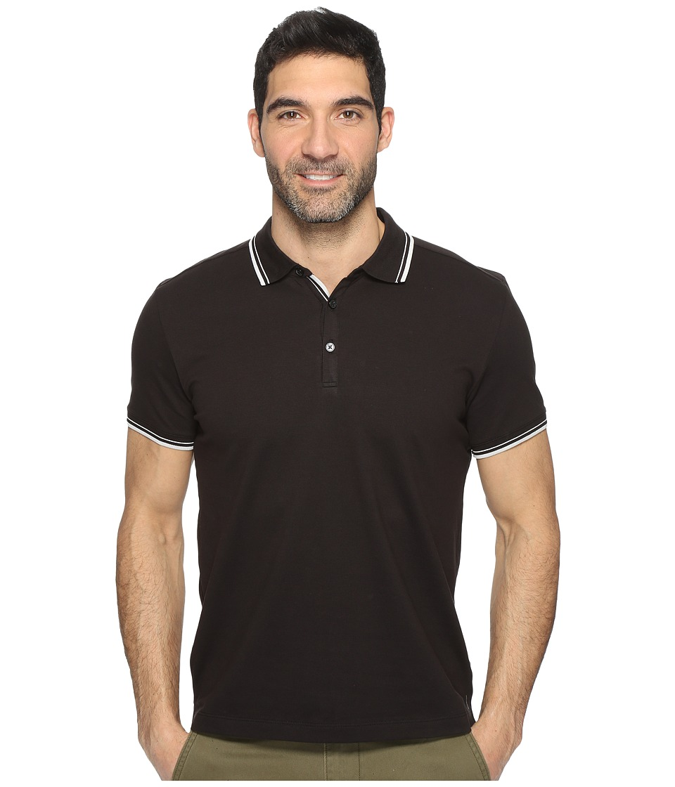Kenneth Cole Sportswear - Polo with Tipping (Black) Men's Short Sleeve Pullover