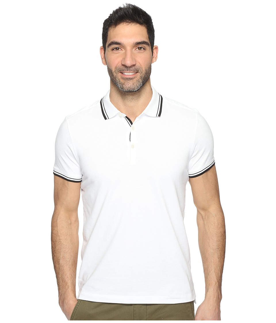 Kenneth Cole Sportswear Polo with Tipping (White) Men