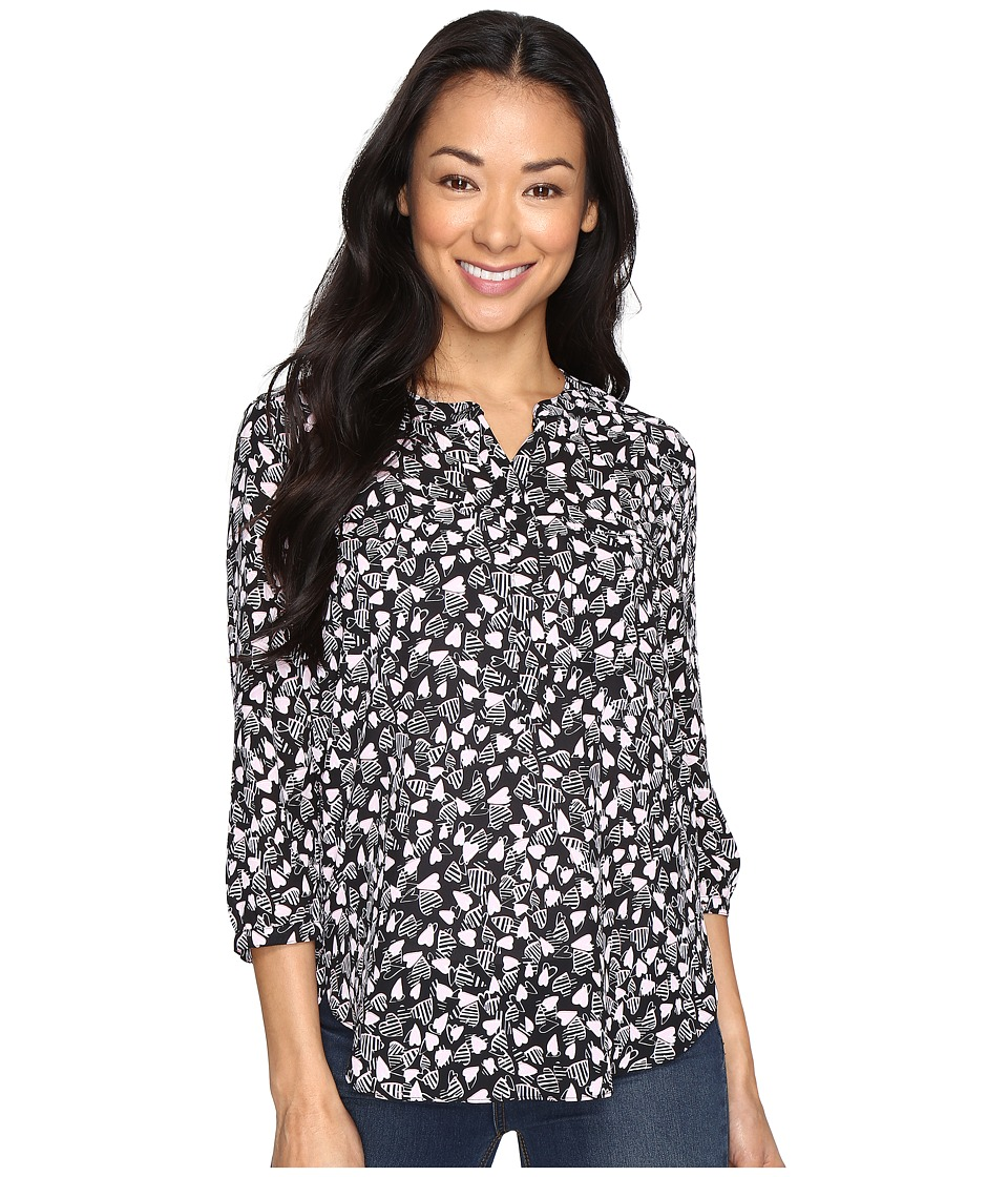 NYDJ Petite - Petite 3/4 Sleeve Pleat Back Top (Be Mine Pink Gerber) Women's Clothing