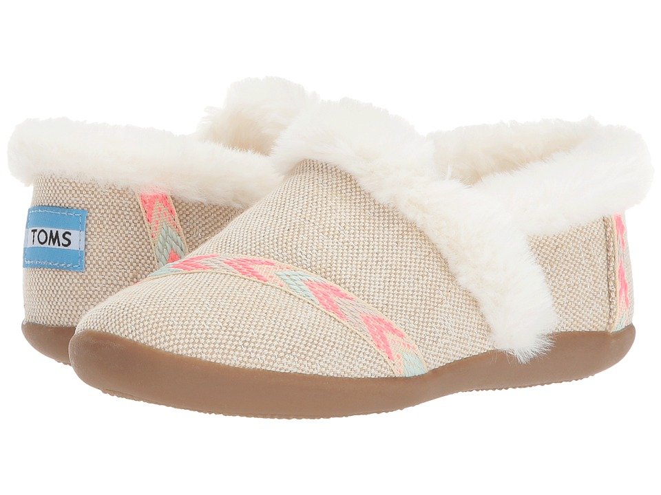 TOMS Kids House Slipper (Little Kid/Big Kid) (Natural Metallic Burlap) Girls Shoes