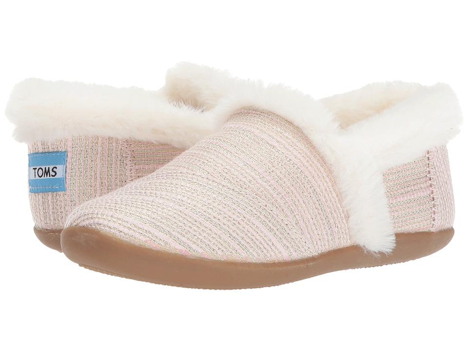 TOMS Kids House Slipper (Little Kid/Big Kid) (Pink Metallic Woven) Girls Shoes