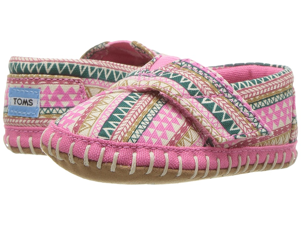 TOMS Kids - Crib Alpargata (Infant/Toddler) (Bubblegum Pink Mud Hut) Girl's Shoes