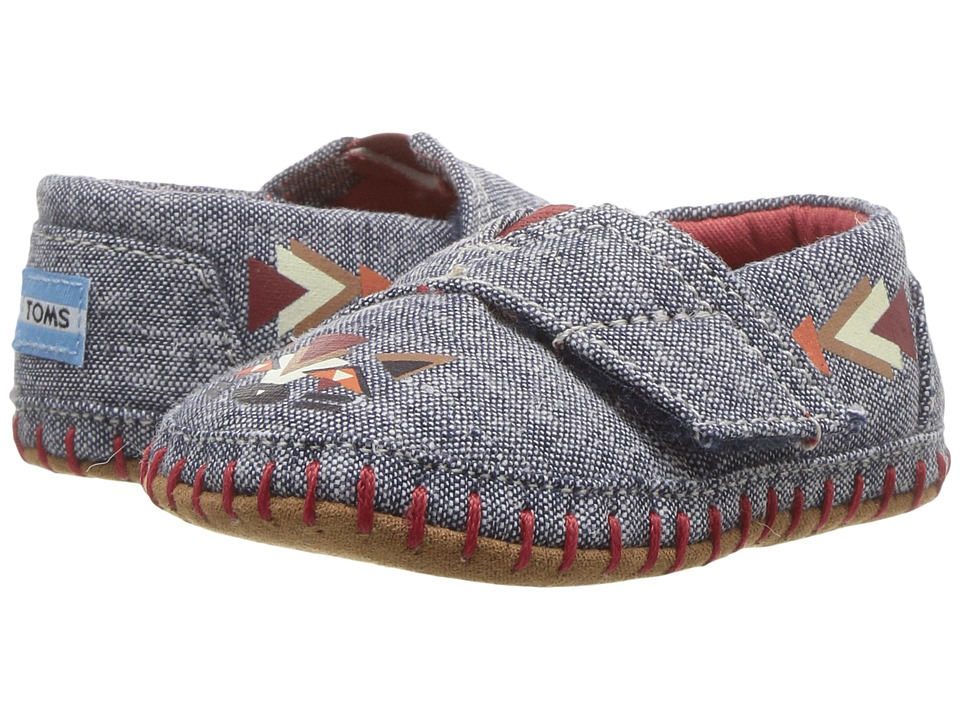 TOMS Kids - Crib Alpargata (Infant/Toddler) (Navy Chambray Fox) Kid's Shoes