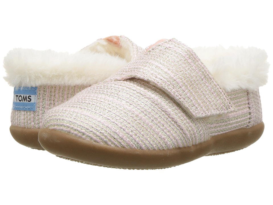 TOMS Kids House Slipper (Infant/Toddler/Little Kid) (Pink Metallic Woven 1) Girls Shoes