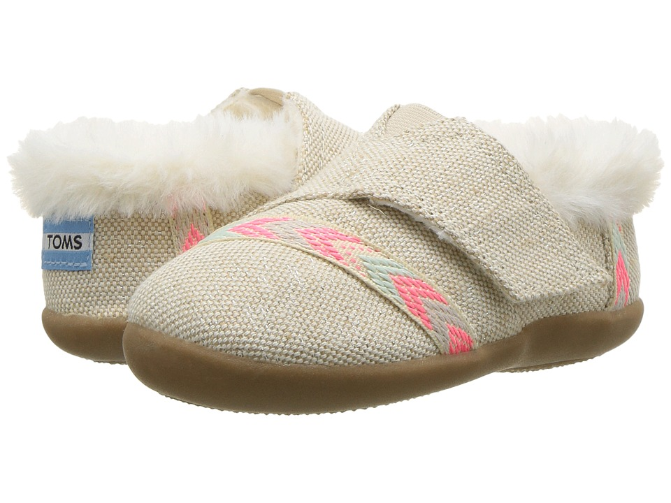 TOMS Kids House Slipper (Infant/Toddler/Little Kid) (Natural Metallic Burlap) Girls Shoes