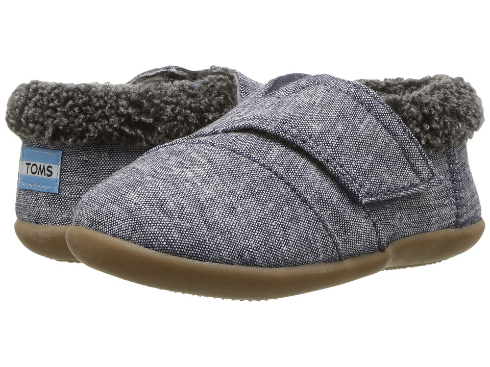 TOMS Kids House Slipper (Infant/Toddler/Little Kid) (Navy Chambray) Girls Shoes