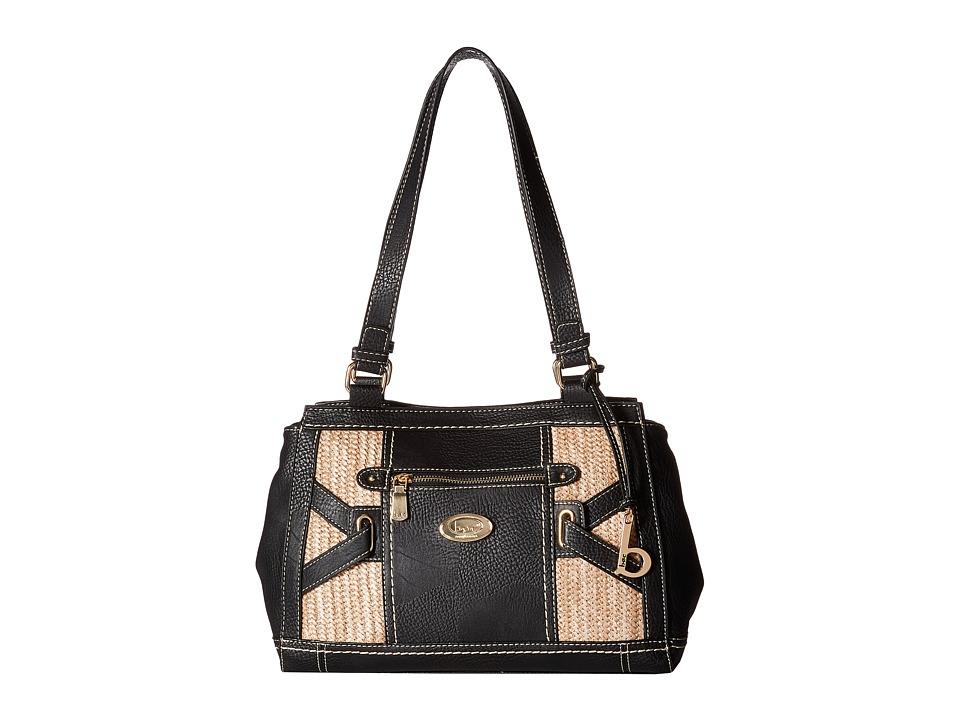 b.o.c. - Park Slope Straw Tote (Black/Straw) Tote Handbags