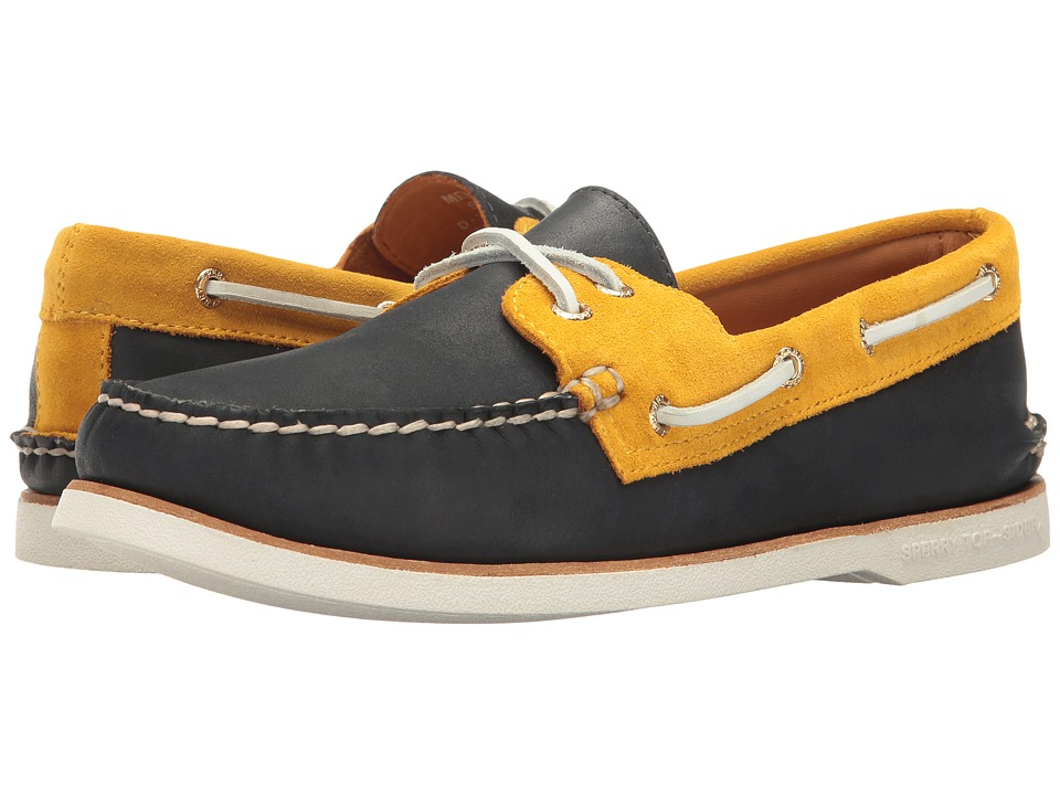 Sperry - Gold A/O 2-Eye Chevre (Navy/Gold) Men's Slip on Shoes