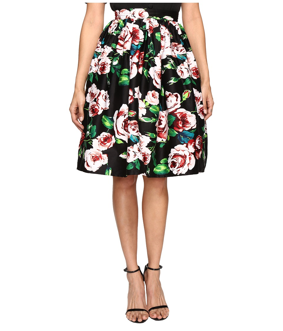 Unique Vintage - Cotton Swing Skirt (Black Floral) Women's Skirt