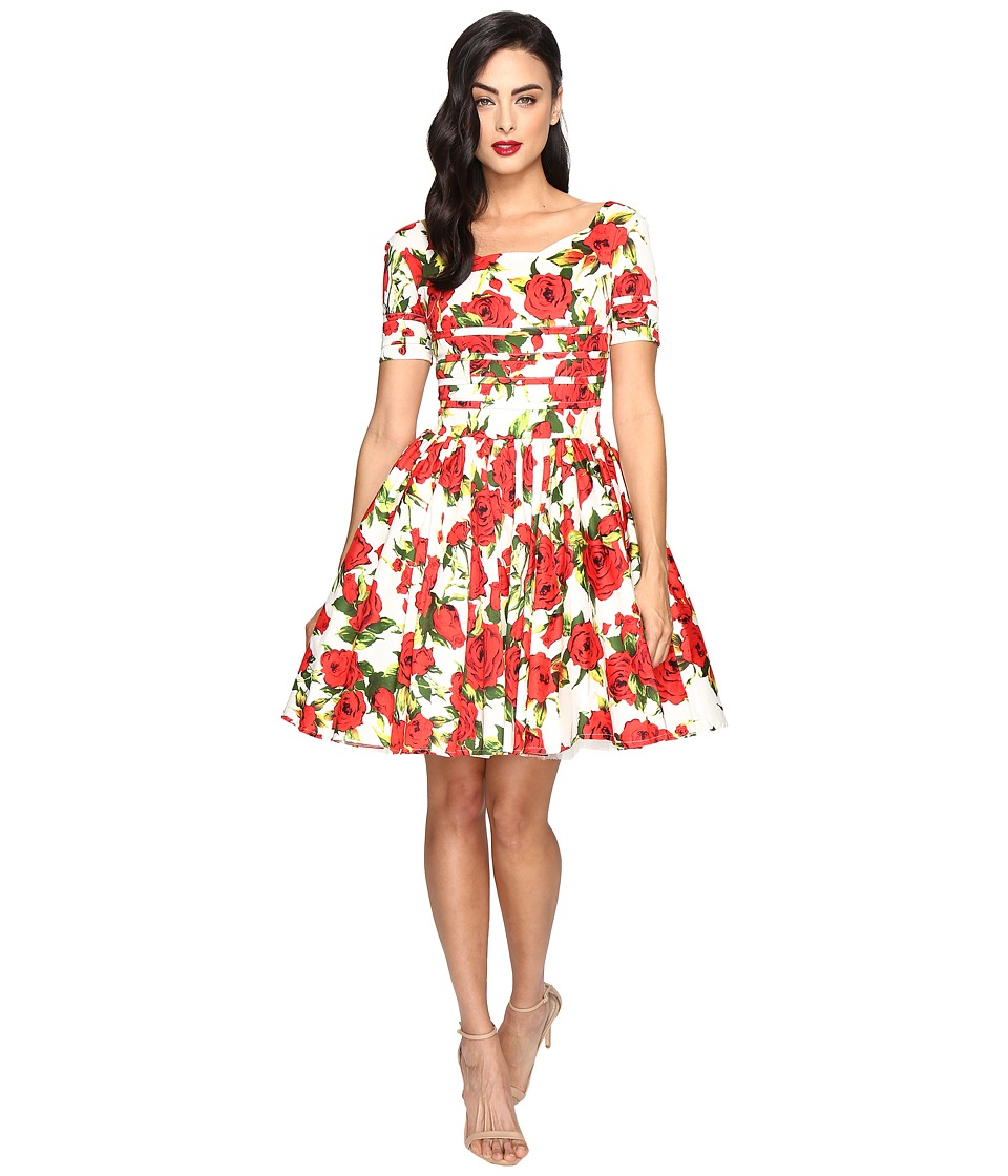 Unique Vintage Short Sleeved Roman Holiday Dress (White Floral) Women