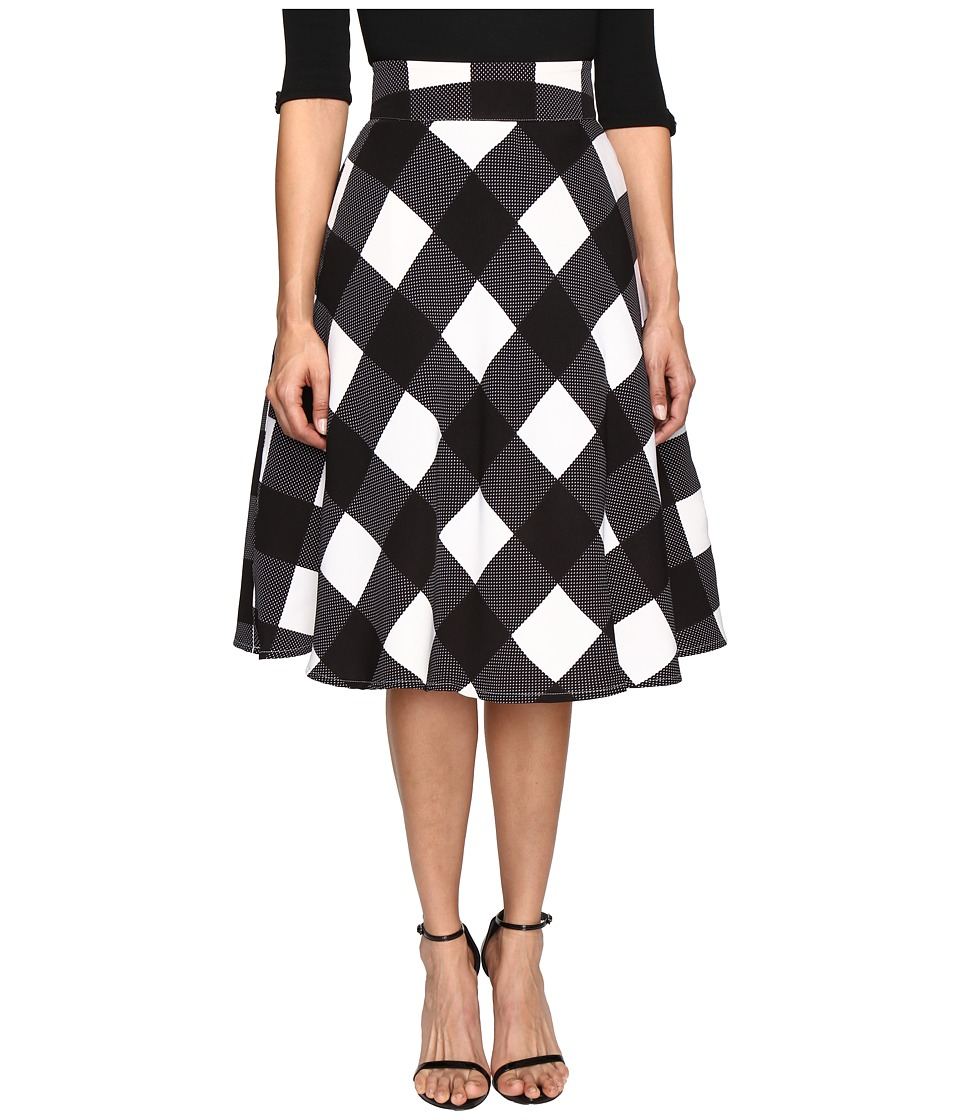 Unique Vintage - Vivien Swing Skirt (Black/Ivory Check) Women's Skirt