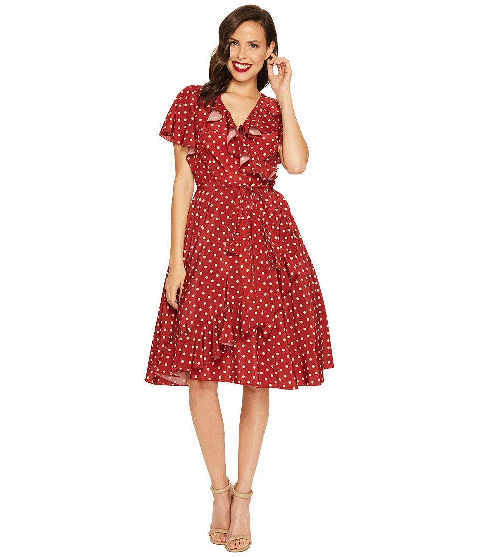 Unique Vintage - Sateen Ruffle Dotty Wrap Dress (Red/Ivory Dot) Women's Dress