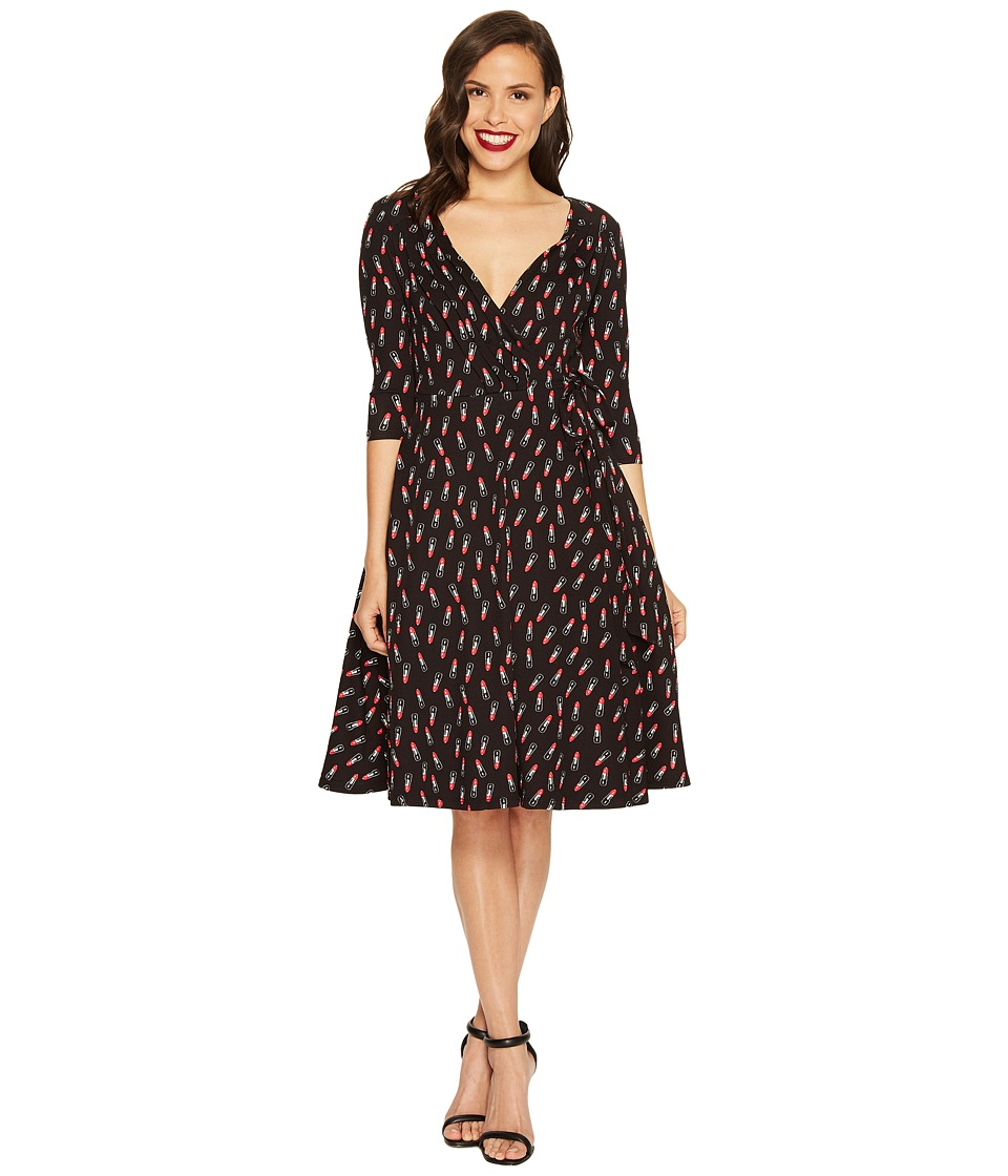 Unique Vintage Vanity Wrap Dress (Black/Red Lipstick Print) Women