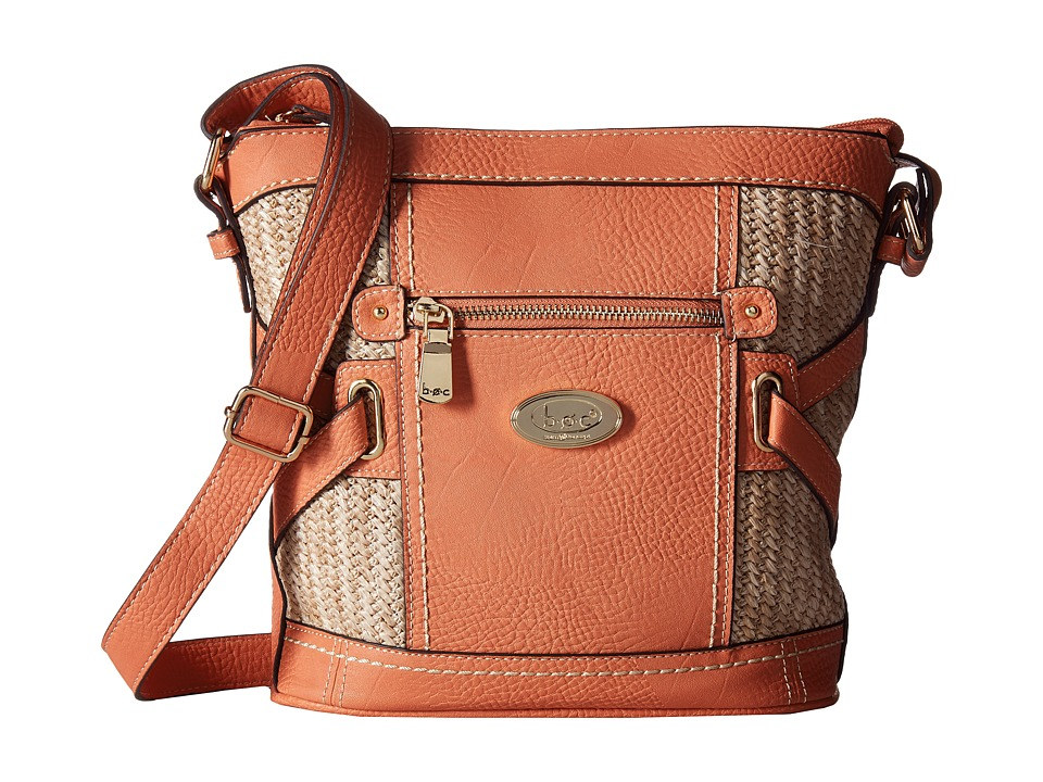 b.o.c. - Park Slope Straw Crossbody (Coral/Straw) Cross Body Handbags