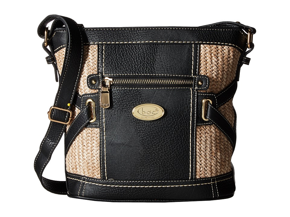 b.o.c. - Park Slope Straw Crossbody (Black/Straw) Cross Body Handbags