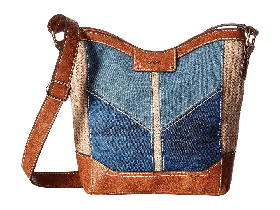 b.o.c. - Fremont Tulip Crossbody (Denim/Straw/Saddle) Cross Body Handbags