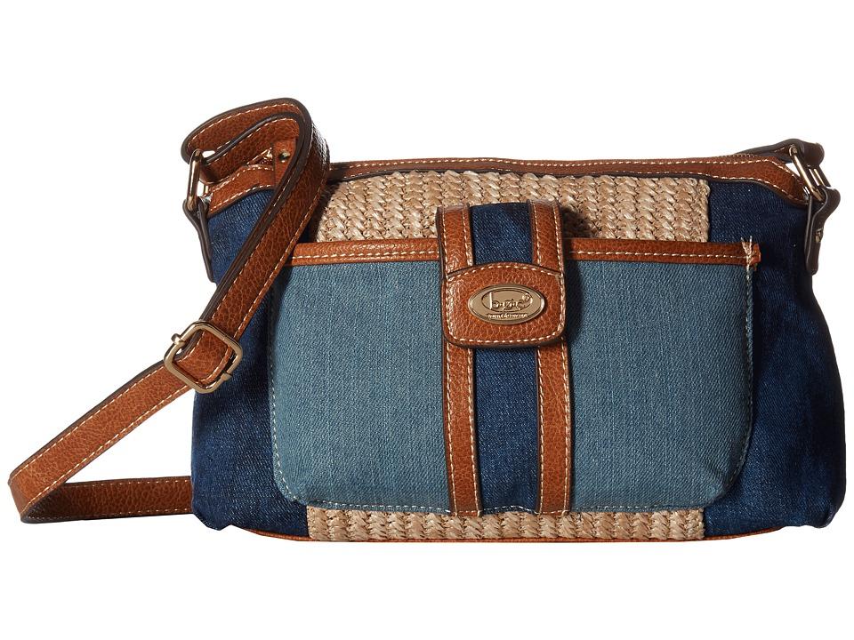 b.o.c. - Fremont Merrimac Crossbody (Denim/Straw/Saddle) Cross Body Handbags