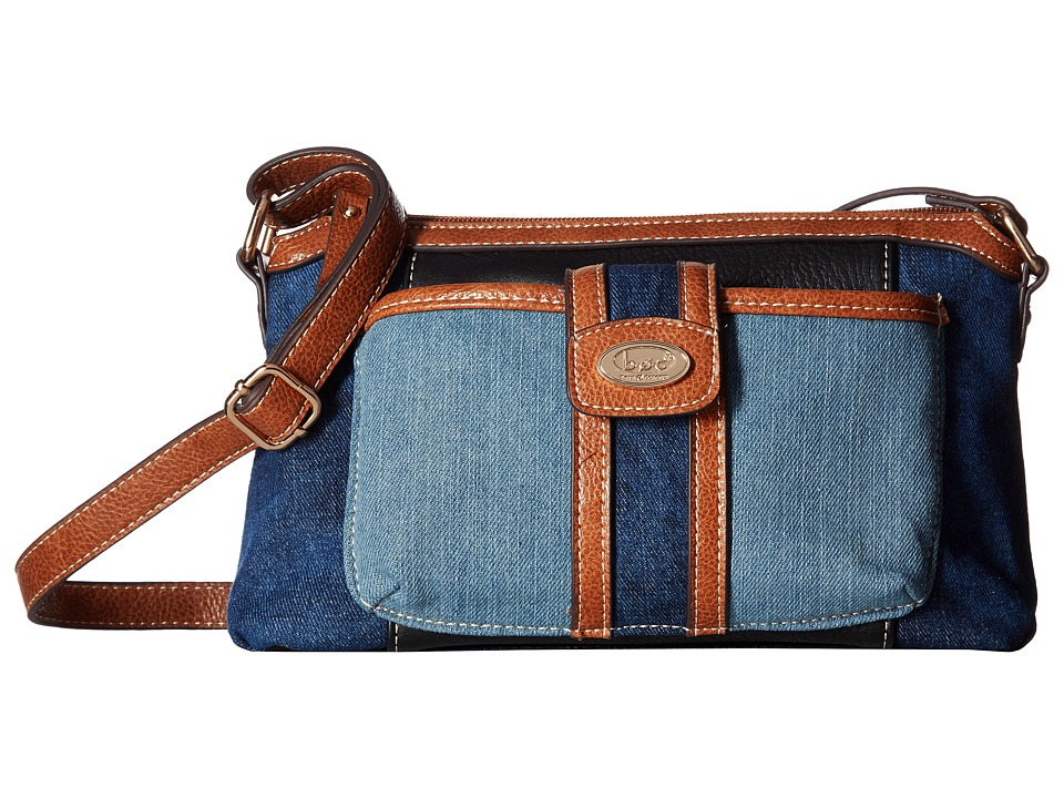 b.o.c. - Fremont Merrimac Crossbody (Denim/Black/Saddle) Cross Body Handbags