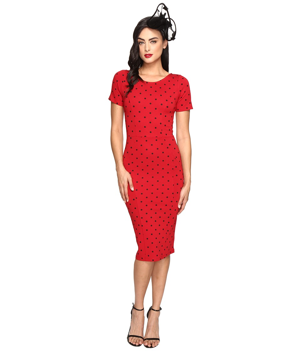 Unique Vintage - Short Sleeve Stretch Mod Wiggle Dress (Red/Black Dot) Women's Dress