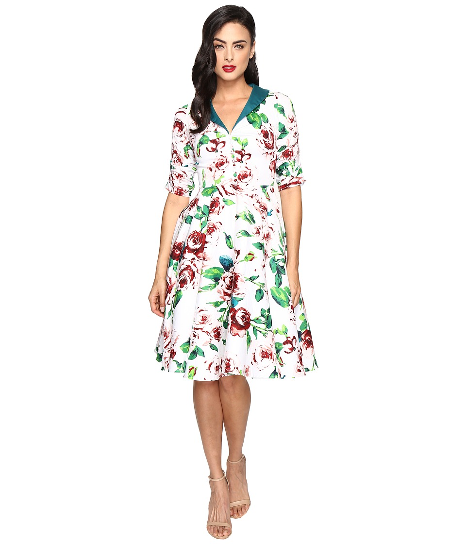 Unique Vintage - Sleeved Eva Marie Swing Dress (White Floral) Women's Dress