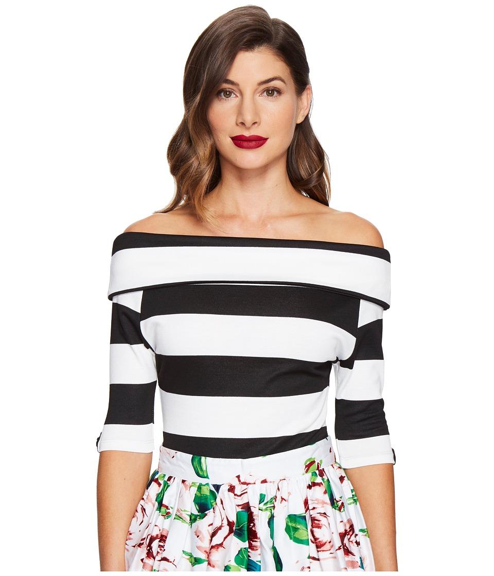 Unique Vintage - Off Shoulder Stretch Knit Brigitte Top (Black/White Stripes) Women's Clothing
