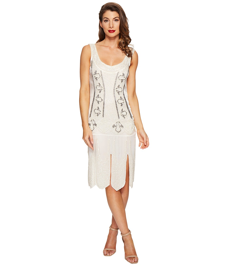 Unique Vintage - Sateen Beaded Eli Flapper Dress (Antique Ivory) Women's Dress