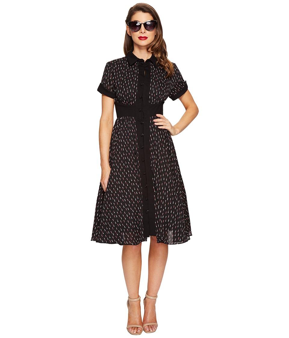 Unique Vintage - Sleeved Button Up Peggy Swing Dress (Black Lipstick Print) Women's Dress