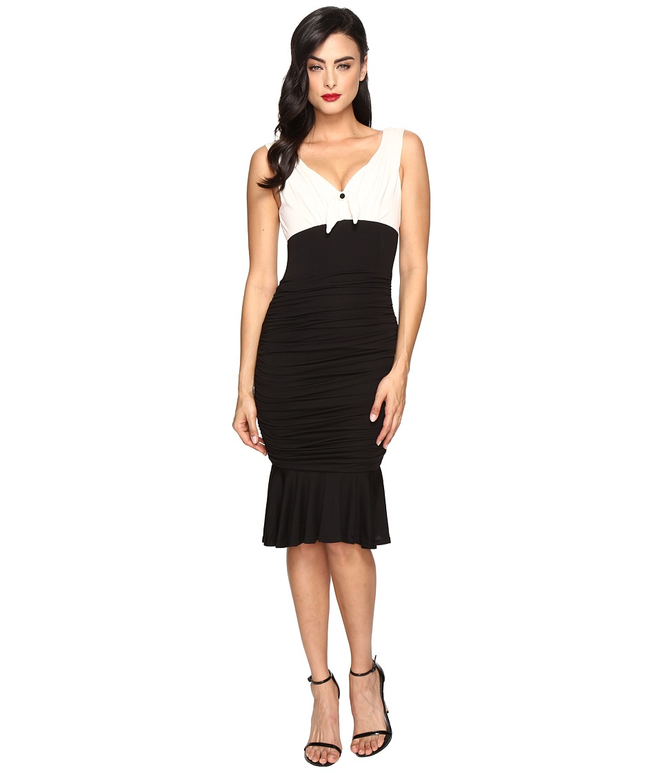 Unique Vintage - Jersey Knit Ruched Fitted Dress (Ivory/Black) Women's Dress