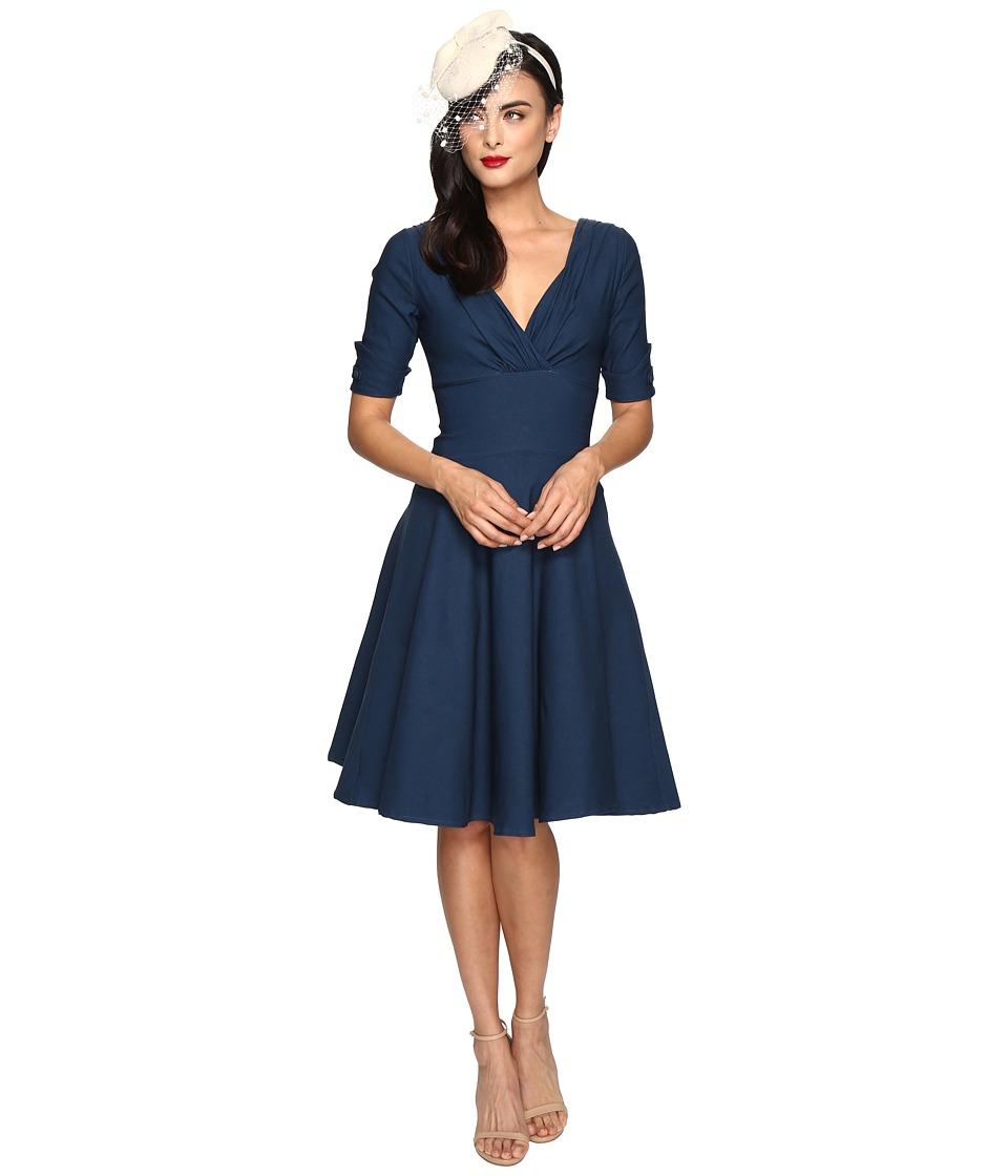 Unique Vintage - 1/2 Sleeve Delores Swing Dress (Dark Teal) Women's Dress
