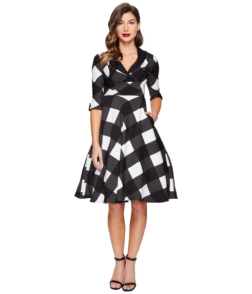 Unique Vintage - Sleeved Trudy Swing Dress (Black/Ivory Checkered) Women's Dress