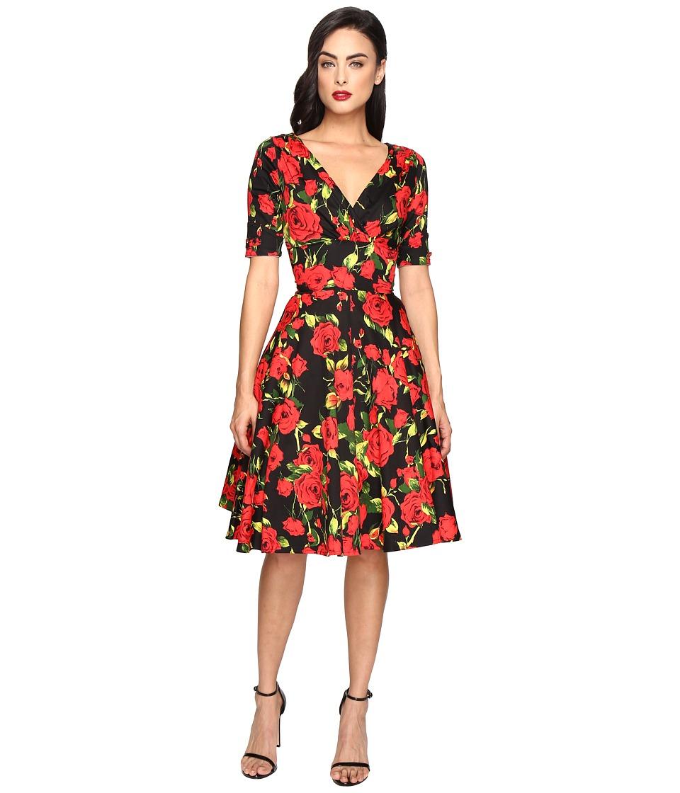 Unique Vintage - 1/2 Sleeve Delores Swing Dress (Black/Red Rose) Women's Dress