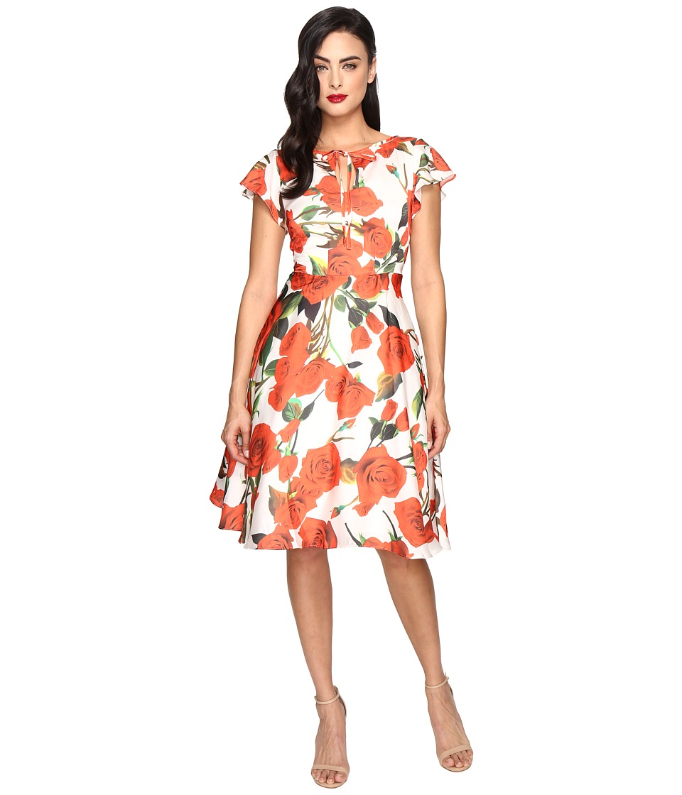 Unique Vintage - Cap Sleeve Formosa Dress (White/Red Rose) Women's Dress