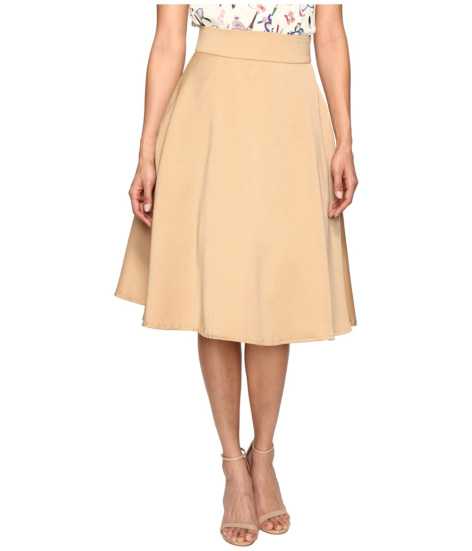 Unique Vintage High Waist Vivien Swing Skirt (Taupe) Women