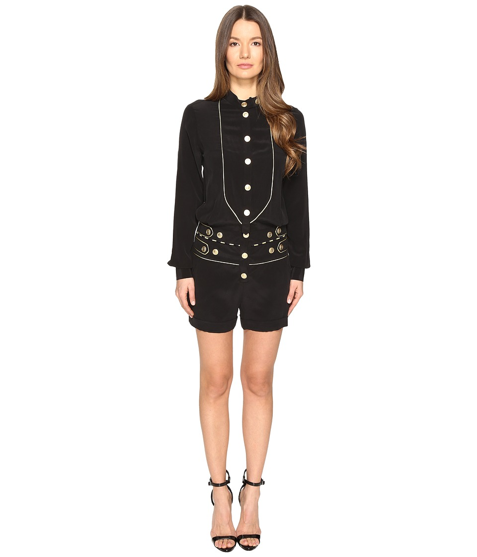 Pierre Balmain - Embellished Button Playsuit (Black) Women's Jumpsuit & Rompers One Piece