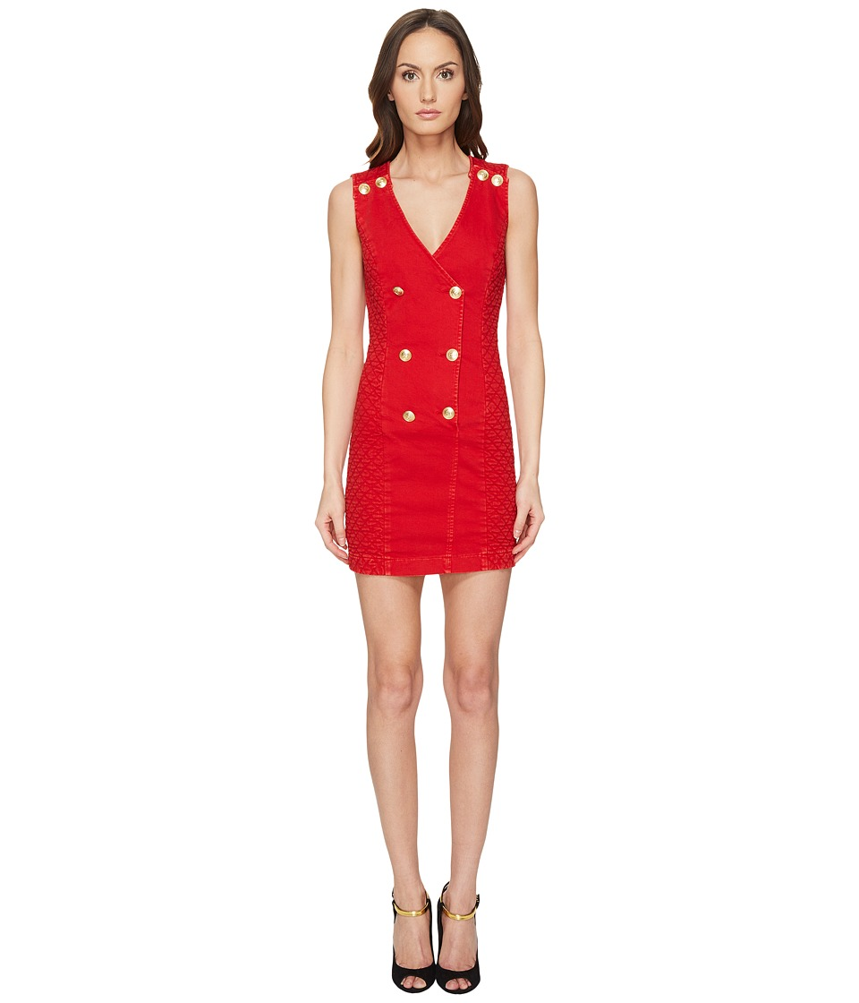 Pierre Balmain - Embellished Button Bodycon Dress (Red Vintage) Women's Dress