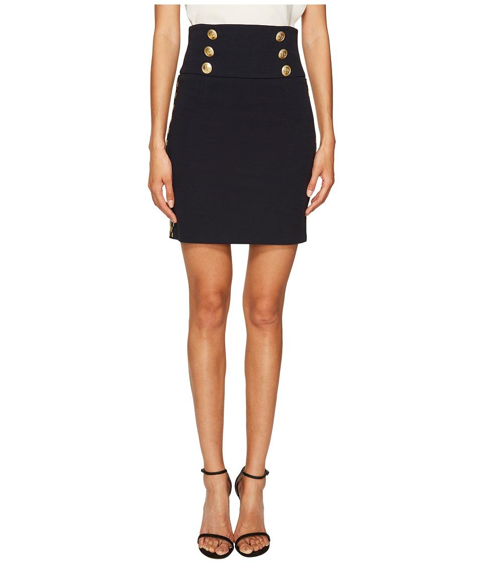 Pierre Balmain - Embellished Button Skirt (Blue Navy) Women's Skirt