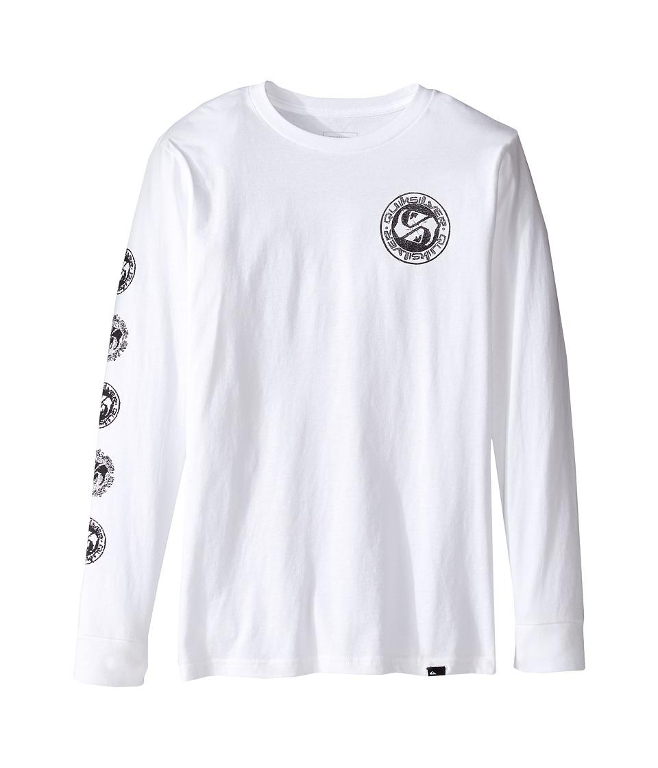 Quiksilver Kids - Balanced 69 Long Sleeve Youth (Big Kids) (White) Boy's T Shirt