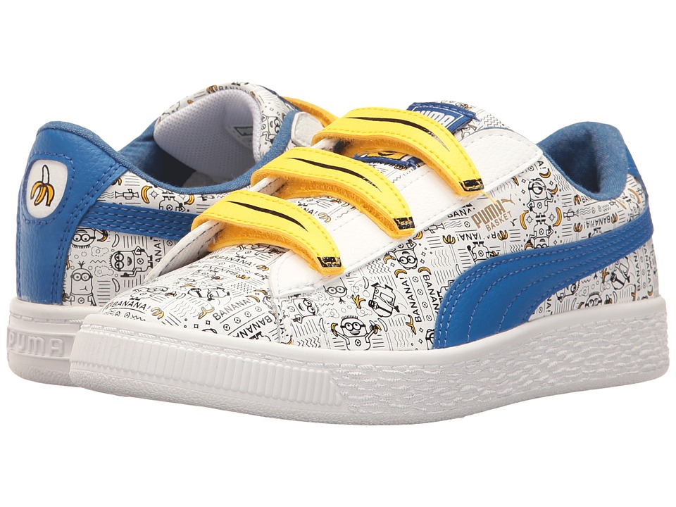 Puma Kids Minions Basket V (Little Kid) (Puma White/Lapis Blue) Kids Shoes