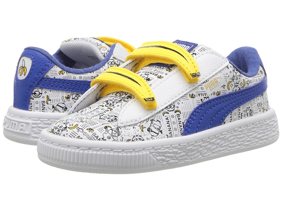 Puma Kids Minions Basket V (Toddler) (Puma White/Lapis Blue) Kids Shoes