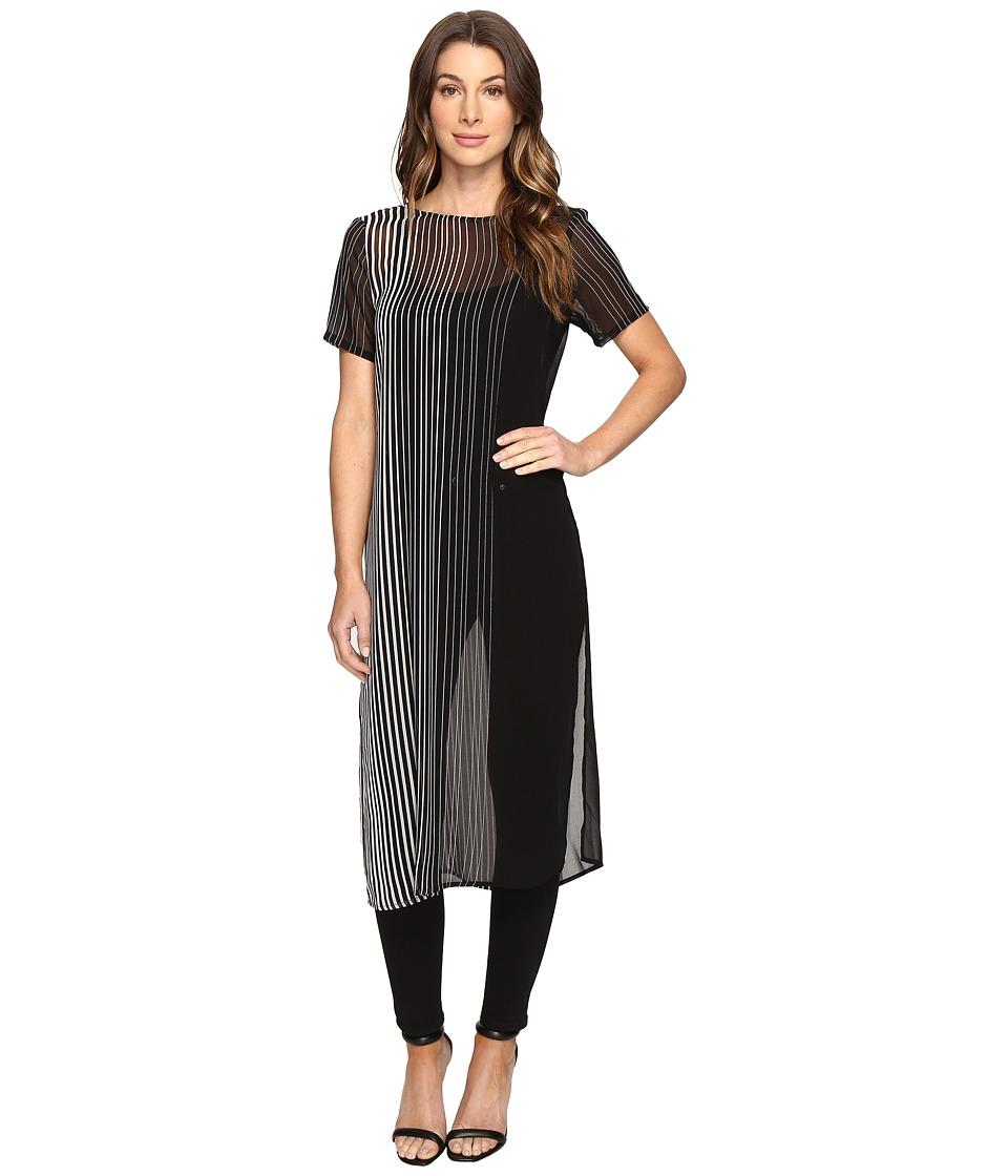 Calvin Klein - Side Slit Long Shirt (Black/White) Women's Clothing