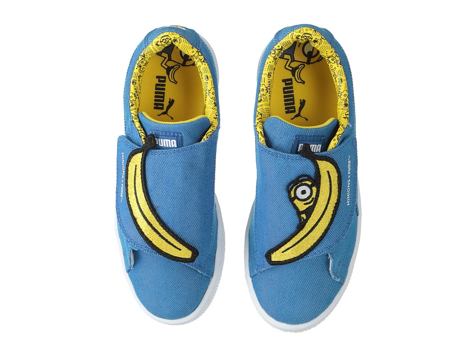 Puma Kids - Minions Basket Wrap Statement Denim (Little Kid) (Lapis Blue/Lapis Blue/Minion Yellow) Kids Shoes