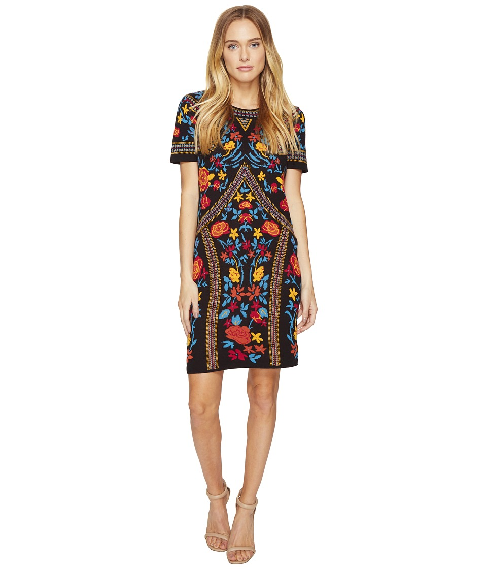 ROMEO & JULIET COUTURE - Floral Geometric Patterned Dress (Black Combo) Women's Dress