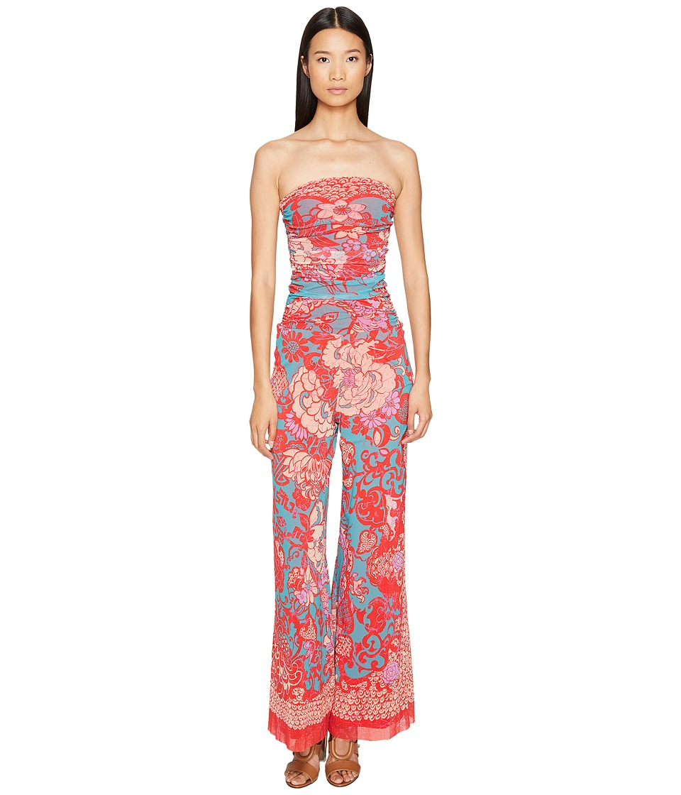 FUZZI - Strapless Jumpsuit in Dragonessa Print (Fuchsia) Women's Jumpsuit & Rompers One Piece