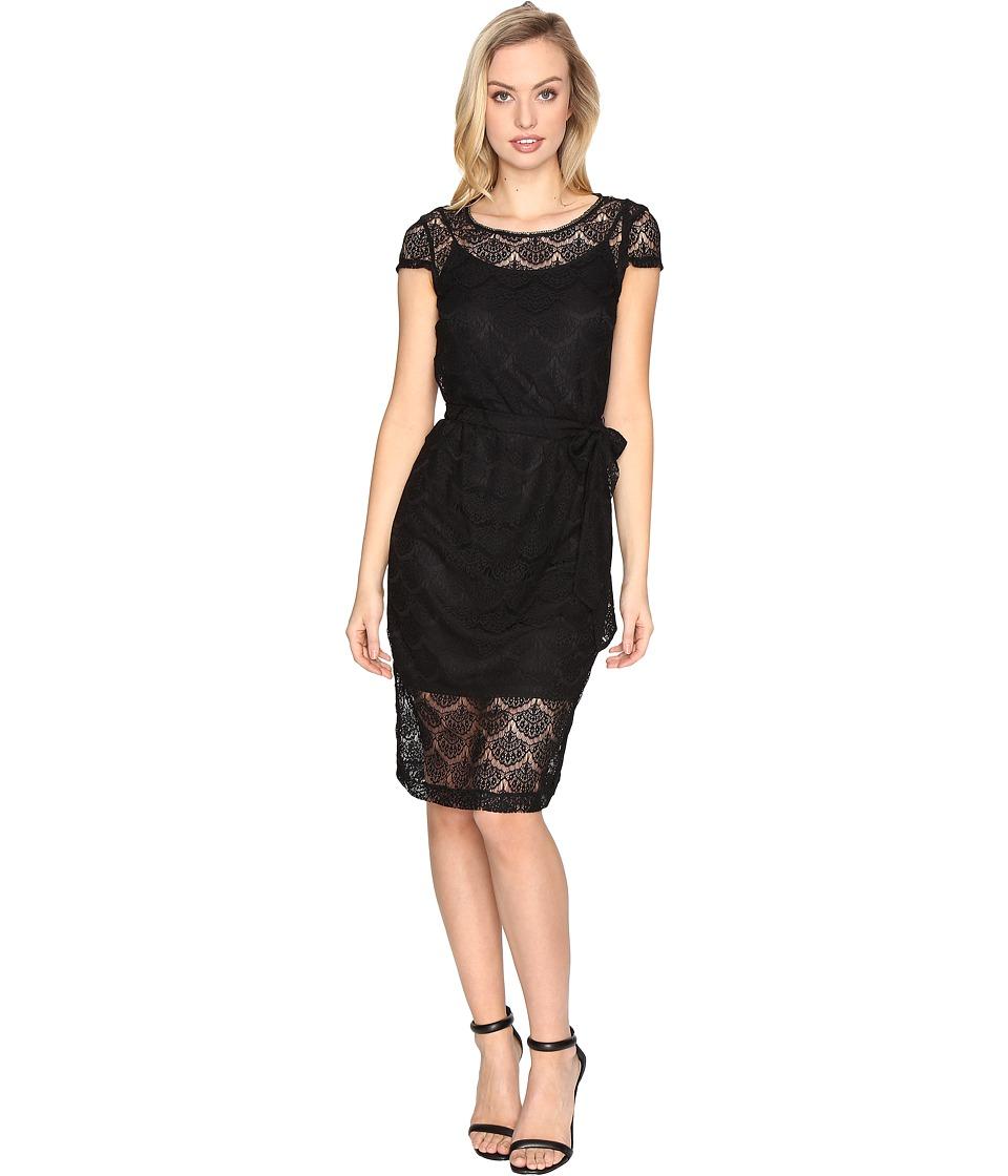Jessica Simpson - Scalloped Lace Dress (Black) Women's Dress