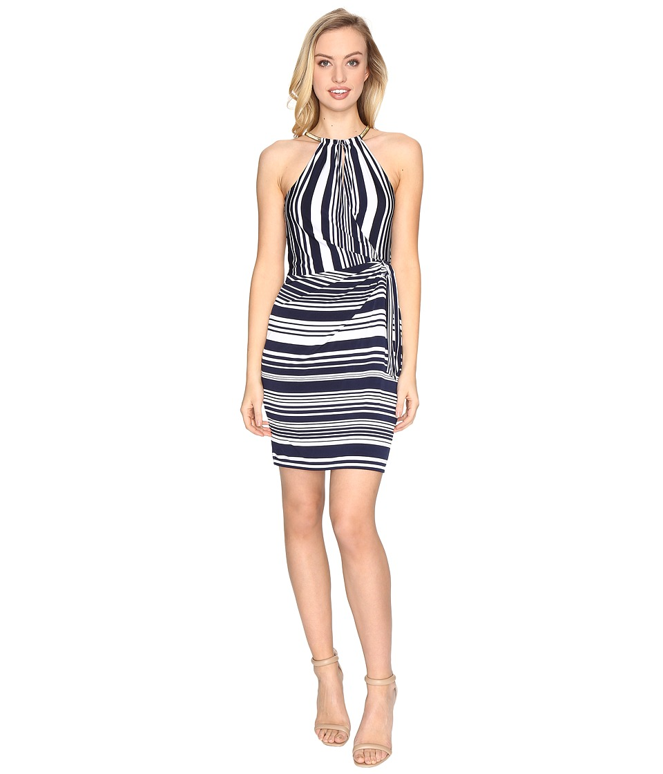 Jessica Simpson - Bungee Faux Wrap Dress (Stripe) Women's Dress