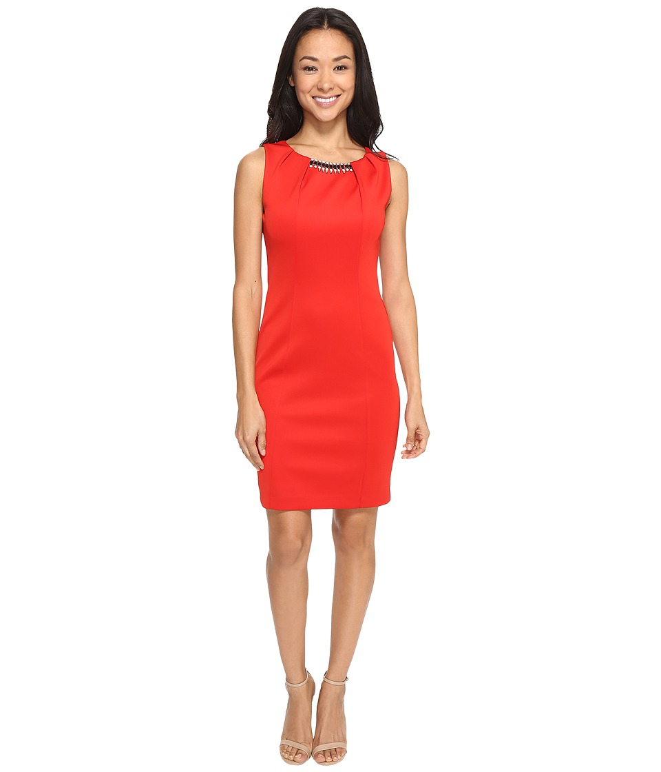 Jessica Simpson Embellished Neck Dress (Sunset) Women