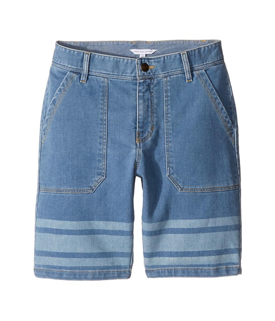 Little Marc Jacobs - Denim Effect Shorts (Big Kids) (Bleach) Boy's Shorts