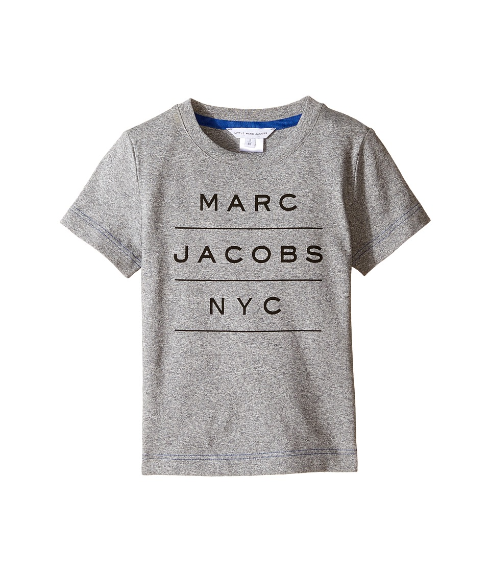 Little Marc Jacobs - Official Short Sleeve Tee Shirt (Toddler/Little Kids) (Gris Fonce) Boy's T Shirt
