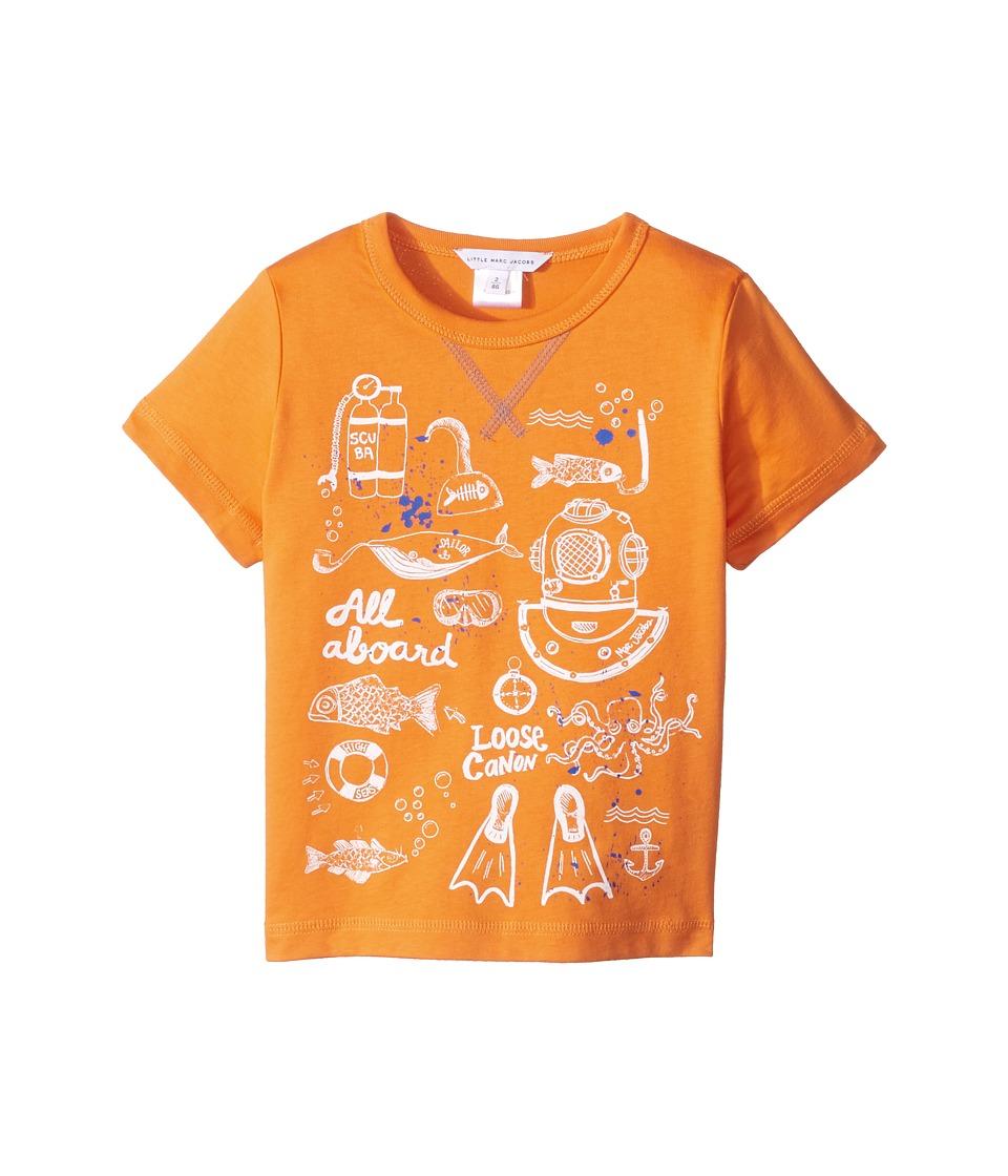 Little Marc Jacobs - Sea Animation Or Boat Print Short Sleeve Tee Shirt (Toddler/Little Kids) (Orange) Boy's T Shirt